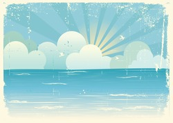 Vintage sea landscape with beautifull clouds.Vector image