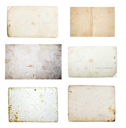 Collection of grunge empty papers and postcards