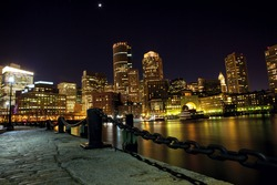 Boston downtown skyline at night, USA