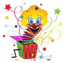 Red-haired clown with blue eyes jumps out from a box