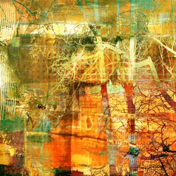 art abstract vintage autumn grunge background with graphic trees silhouettes in bright gold, orange, green, brown and white colors
