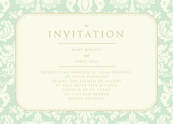 Ornate damask background. The Invitation