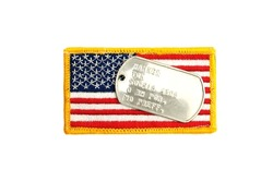 Military army US flag patch and dog tags