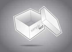 Empty white box with cover vector illustration