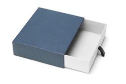 Elevated view of empty blue gift box on white background