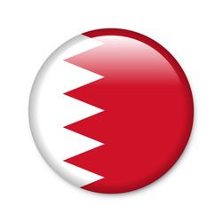 Bahrain - glossy button with flag