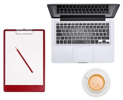 Blank clipboard with pencil, laptop and cup
