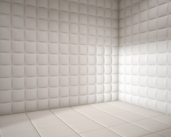 white mental hospital padded room empty with copy space