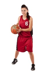 Active female basketball player, isolated on white background