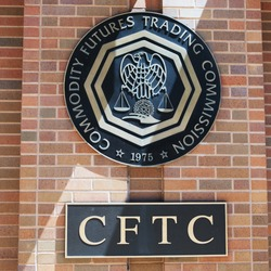 WASHINGTON, DC - AUGUST 20: Signs at the entrance of the U.S. Commodity Futures Trading Commission in Washington, DC on August 20, 2017. CFTC was created in 1974.