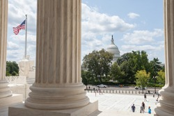 WASHINGTON, DC - AUGUST 20: United States Capitol as seen from the Supreme Court Building in Washington, DC on August 20, 2017.