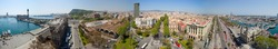 Panorama view of Barcelona from Columbus statue. Spain