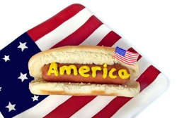 hot dog on flag plate
