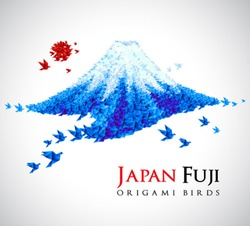 Fuji shaped from origami birds, Japan national symbol. Great for social, culture, travel creative idea designs.