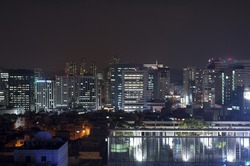 high rise buildings at night
