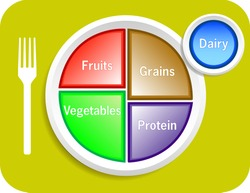 Raster version illustration of new my plate replaces food pyramid.