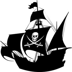 silhouette of a pirate ship with the image of a skeleton on the sail;