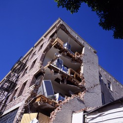 Apartment building after an earthquake