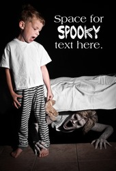 Boogie Man under the Bed Scaring a Young Child with Text Space Above