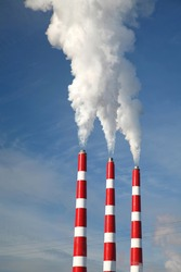 Industrial smoke stack of coal power plant.