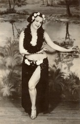 Vintage photo of woman performing hula dance