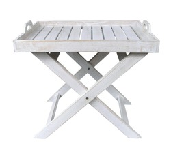 A white painted wooden tray with folding legs.