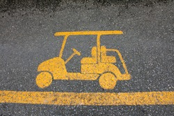 Golf cart road sign