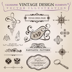 Calligraphic old elements vintage set Congratulation decor. Vector frame ornament icons vintage elements baroque logo set, Signs and Symbols. Design and page decoration. Border frames royal ornament