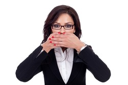 Woman covering her mouth - isolated on white background