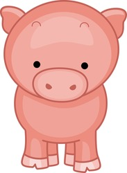 Illustration of a Cute Little Pig