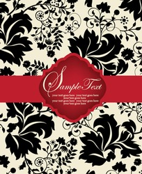 INVITATION CARD ON FLORAL BACKGROUND