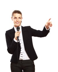 A conference speaker during presentation pointing, isolated on white background