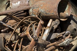 many old things rusted in brown