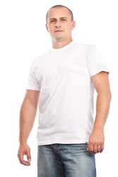 Young man with white t-shirt, isolated on white background