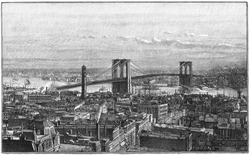 NEW YORK CITY, USA - CIRCA 1883: Brooklyn Bridge as seen from the New York side. Engraving from Harper's Monthly magazine 1883, by unknown artist. circa 1883 in New York City, USA