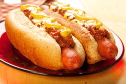 Perfect for the big game,  picnic, party or anytime, chili cheese dogs with mustard and onions