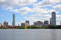 Boston Back Bay Skyline John Hancock Tower and Prudential Center, viewed from Cambridge, Massachusetts