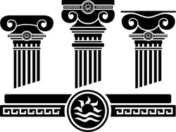 ionic columns and pattern. stencil. vector illustration