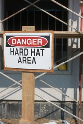 Danger sign on an active construction site