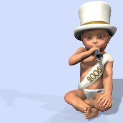 New Year baby in a diaper, hat, and 2006 sash blowing a noise maker.  On a baby blue background.