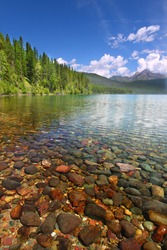 Pretty rocks seen through the crystal clear waters of Kintla Lake in Glacier National Park - USA