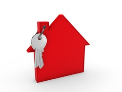 3d house key red home estate security