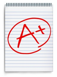 Excellent rating o a notebook page representing a report on test results represented by an A with a plus sign in red on a white background.