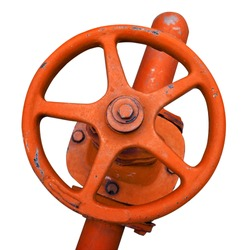 wheel valve with pipe (isolated with clipping path)