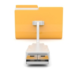 Folder 3d icon. USB onnect