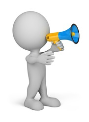 3d person with a blue megaphone in hand. 3d image. Isolated white background.