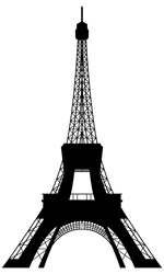 Eiffel Tower Landmark Silhouette. Paris, Europe, France.  Elegant Very Smooth and High Detail Vector illustration.