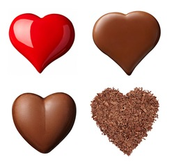 collection of  various chocolate heart shapes on white background. each one is shot separately