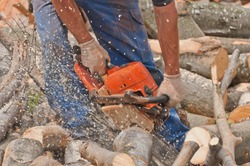 man cutting the logs, close-up