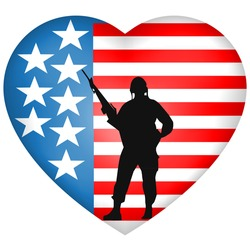 Silhouetted Soldier heart American Flag